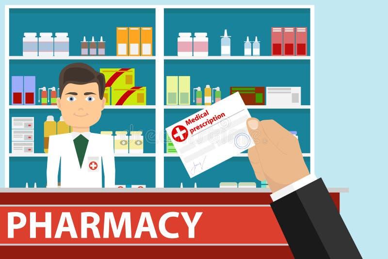 De hand houdt een medisch voorschrift De hand geeft een medisch voorschrift aan de apotheker stock illustratie