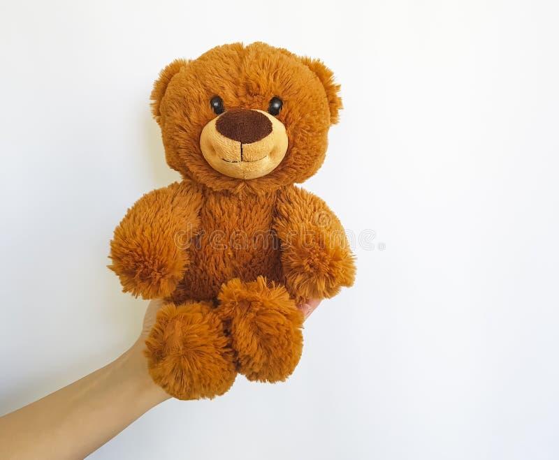 De hand houdt een teddybeerstuk speelgoed gevuld isoleerde royalty-vrije stock foto's