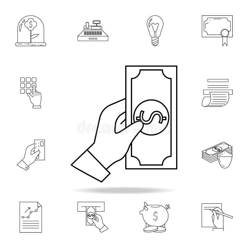 de hand houdt het geldpictogram  Grafisch het ontwerppictogram van de premiekwaliteit Één van de inzamelingspictogrammen voor vector illustratie