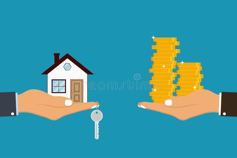 De hand houdt huis en sleutel bij vinger en het geven, ontvangend gouden muntstukken van andere hand Vector stock illustratie