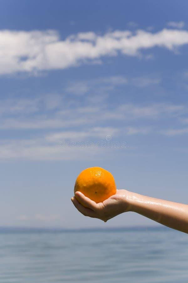 De hand houdt oranje royalty-vrije stock foto's