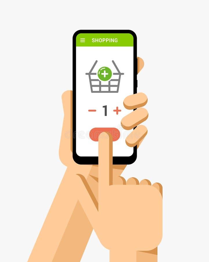 De hand houdt smartphone met online het winkelen mand De vlakke vector moderne illustratie van het telefoonmodel stock illustratie