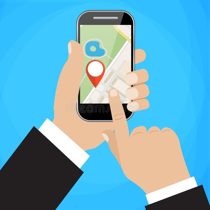 De hand houdt smartphone met stadskaart royalty-vrije illustratie