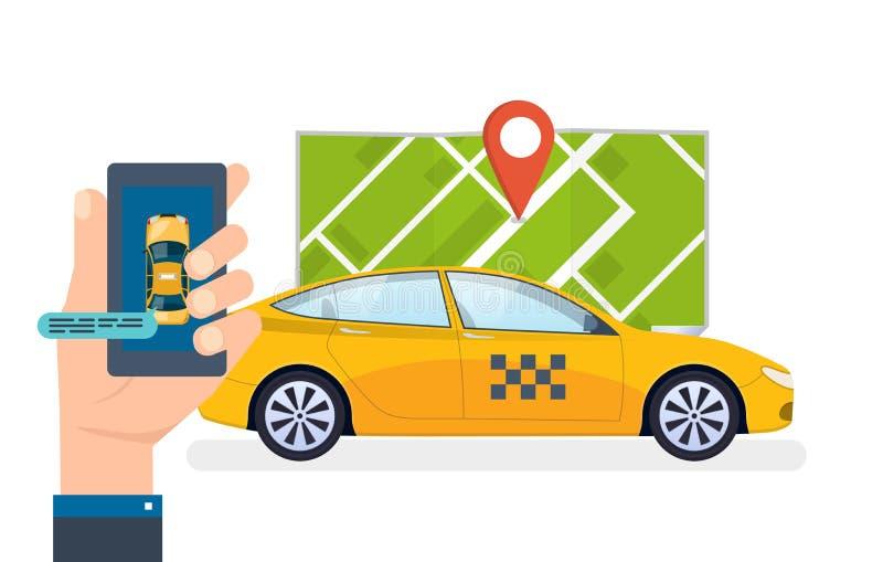 De hand houdt smartphone De taxi opdracht gevende tot dienst, het roepen Orde, mobiele toepassing stock illustratie