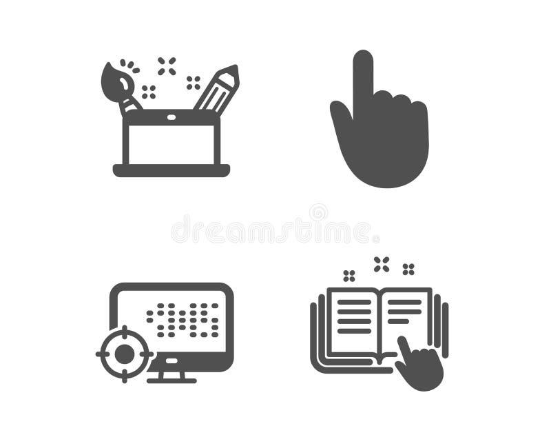 De hand klikken, de het conceptenpictogrammen van Seo en van de Creativiteit Technisch documentatieteken Vector royalty-vrije illustratie
