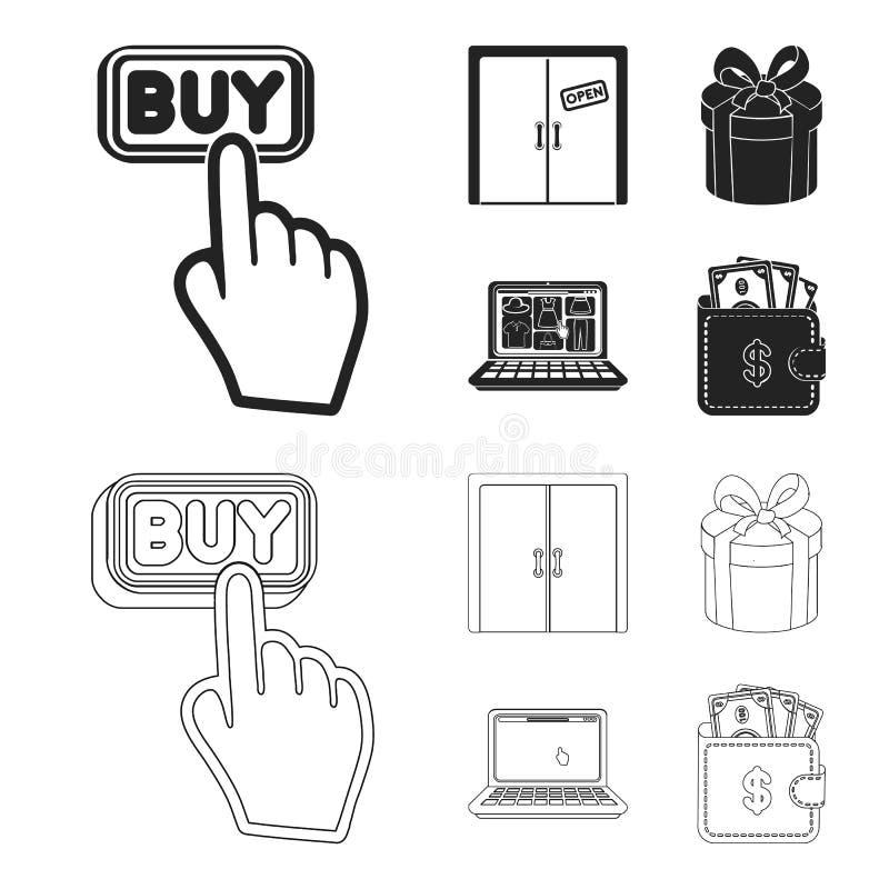 De hand, klikt, lift, gift, doos, deur, online opslag en ander materiaal Pictogrammen van de elektronische handel de vastgestelde royalty-vrije illustratie