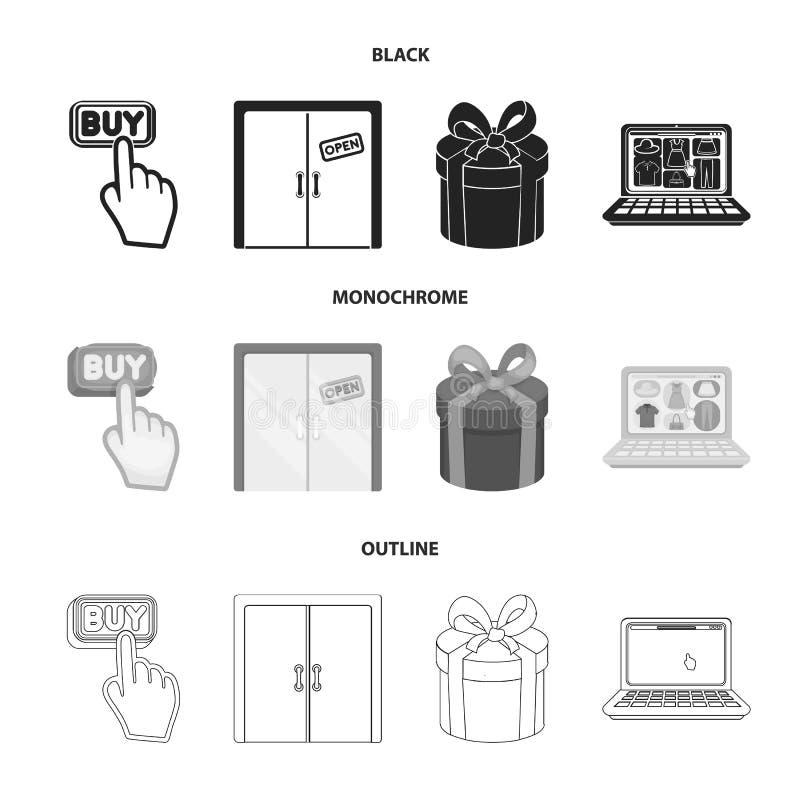 De hand, klikt, lift, gift, doos, deur, online opslag en ander materiaal Pictogrammen van de elektronische handel de vastgestelde stock illustratie
