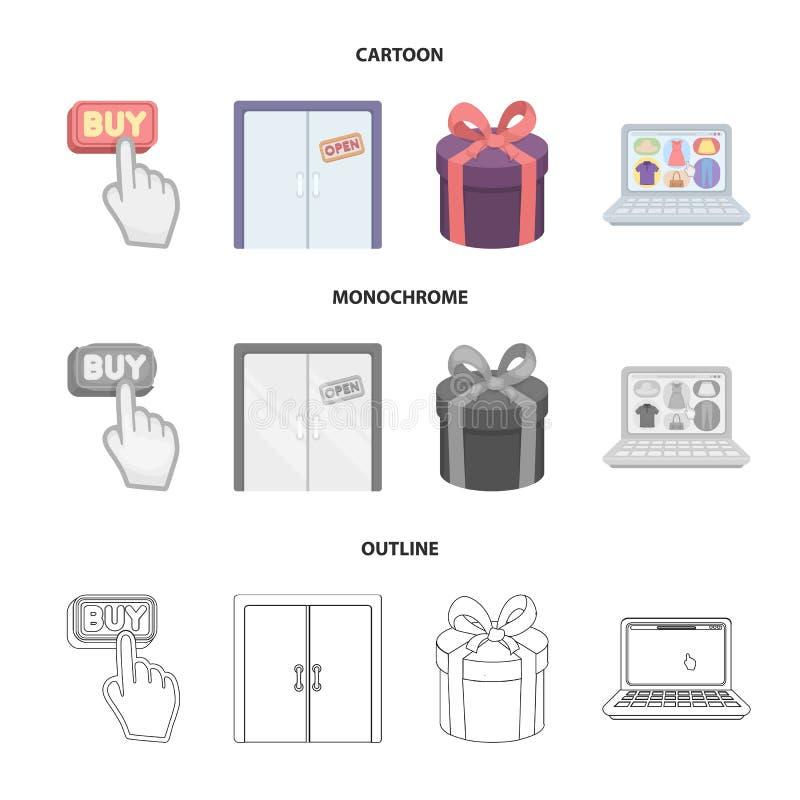 De hand, klikt, lift, gift, doos, deur, online opslag en ander materiaal Pictogrammen van de elektronische handel de vastgestelde vector illustratie