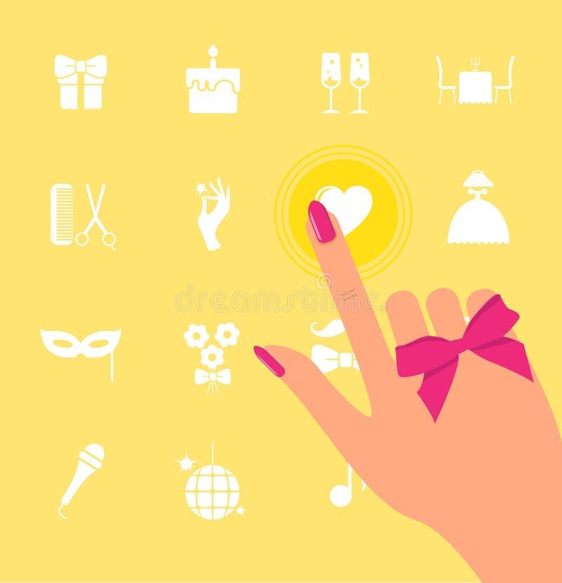 De hand klikt op het scherm met pictogrammen De vingerpunten aan pictogrammen royalty-vrije illustratie