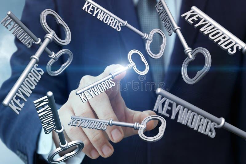 De hand klikt op de sleutels royalty-vrije stock afbeelding