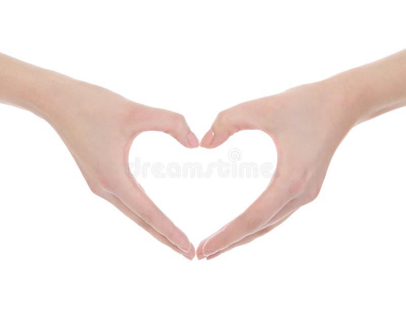 De hand maakt een hart royalty-vrije stock foto