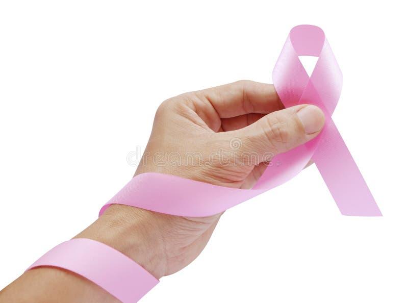 De hand maakt Roze Lint voor het symbool van Borstkanker op wit stock foto's