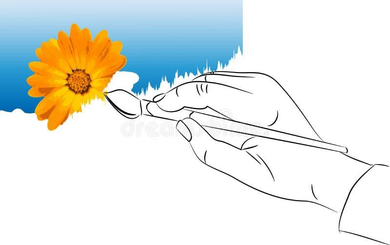 De hand met een borstel trekt de verf stock illustratie