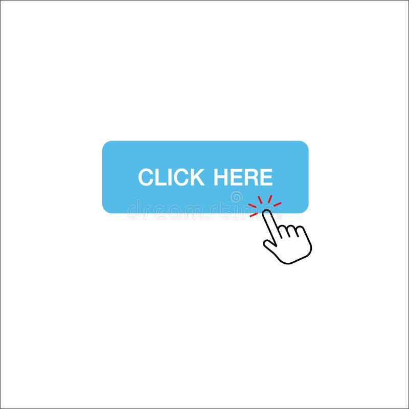 De hand met het raken van een klik knoopt hier dicht royalty-vrije illustratie