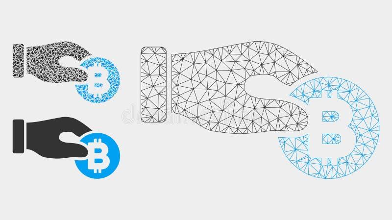 De hand neemt het Vector het Netwerk 2D Model van Bitcoin en Pictogram van het Driehoeksmozaïek royalty-vrije illustratie