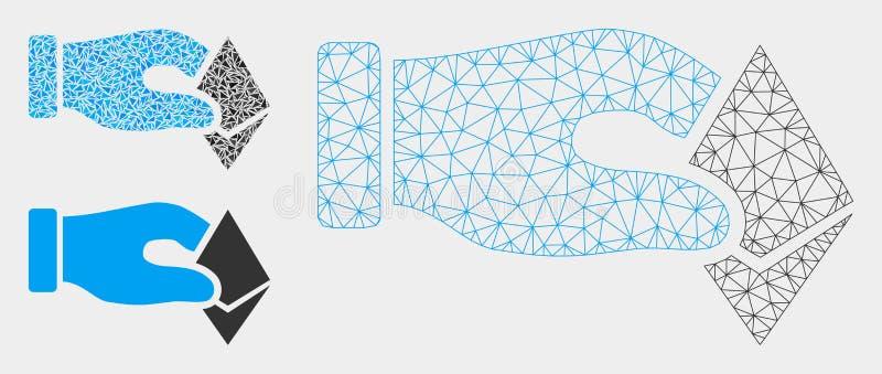 De hand neemt het Vector het Netwerk 2D Model van Ethereum en Pictogram van het Driehoeksmozaïek vector illustratie