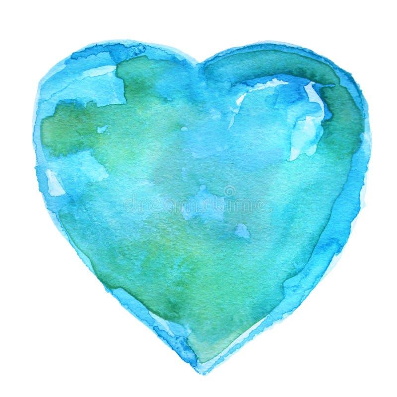 De hand schilderde Blauw en Groen Waterverfhart vector illustratie