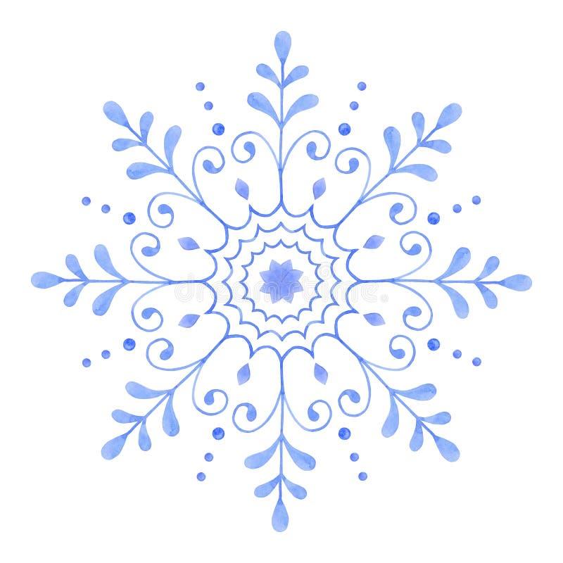 De hand schilderde Decoratieve Waterverfsneeuwvlok royalty-vrije illustratie