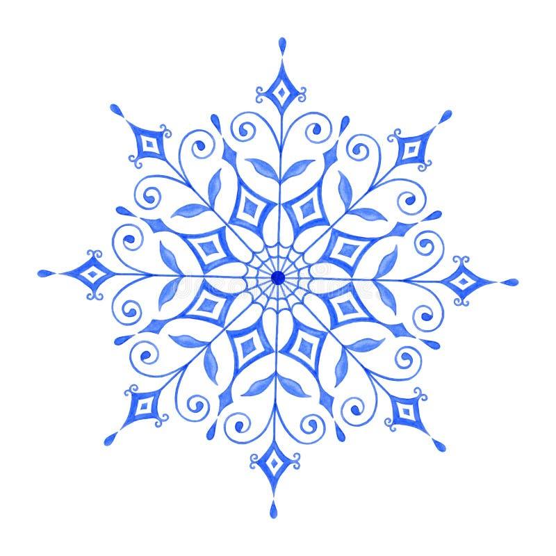 De hand schilderde Decoratieve Waterverfsneeuwvlok stock illustratie