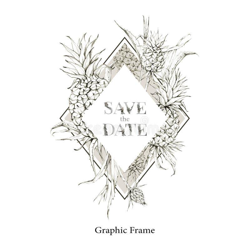 De hand schilderde geometrisch kader met ananassen en bladeren Tropische grafische illustratie in beige schaduwen Huwelijk royalty-vrije illustratie