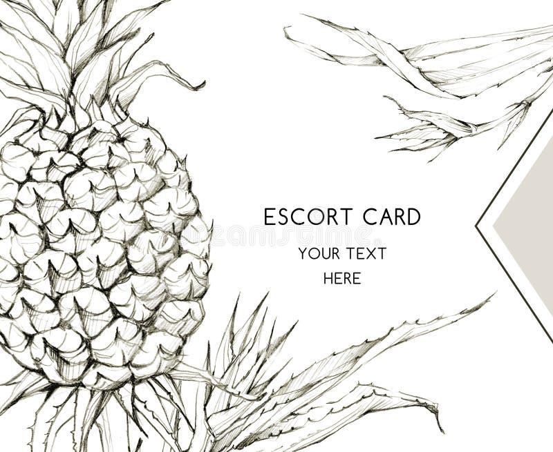 De hand schilderde geometrisch kader met ananassen en bladeren Tropische grafische illustratie in beige schaduwen Huwelijk stock illustratie