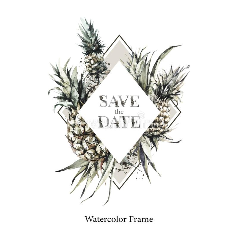 De hand schilderde geometrisch kader met ananassen en bladeren Tropische waterverfillustratie in bronsschaduwen Huwelijk royalty-vrije illustratie