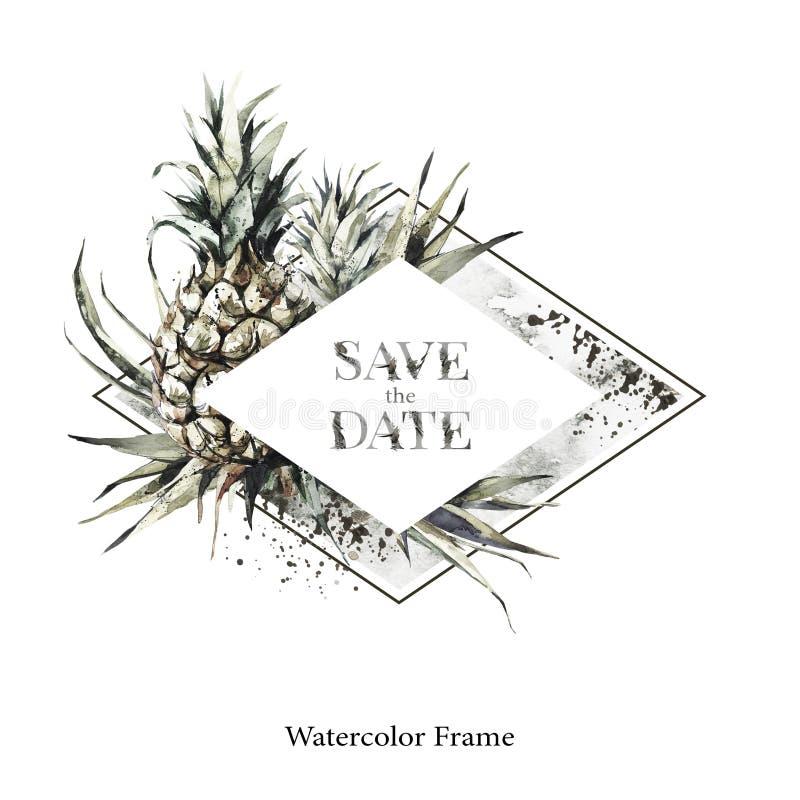 De hand schilderde geometrisch kader met ananassen en bladeren Tropische waterverfillustratie in bronsschaduwen Huwelijk vector illustratie