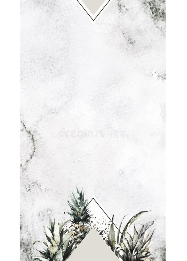 De hand schilderde geometrisch kader met ananassen en bladeren Tropische waterverfillustratie in bronsschaduwen Huwelijk stock illustratie