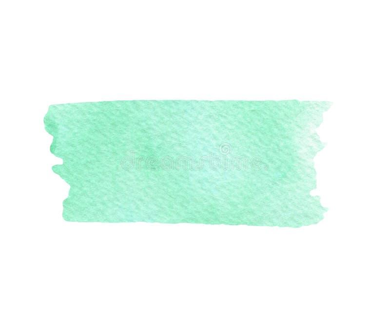 De hand schilderde groene waterverftextuur die op de witte achtergrond wordt geïsoleerd stock illustratie