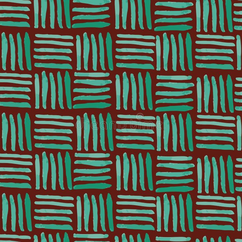 De hand schilderde het groene naadloze patroon van het mandweefsel op kastanjebruine achtergrond royalty-vrije illustratie