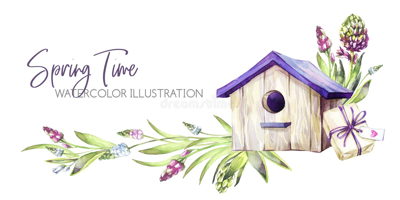 De hand schilderde horizontale grens met Hyacintenbloemen, bladeren en vogelhuis Illustratie van de de lente de rustieke waterver royalty-vrije illustratie