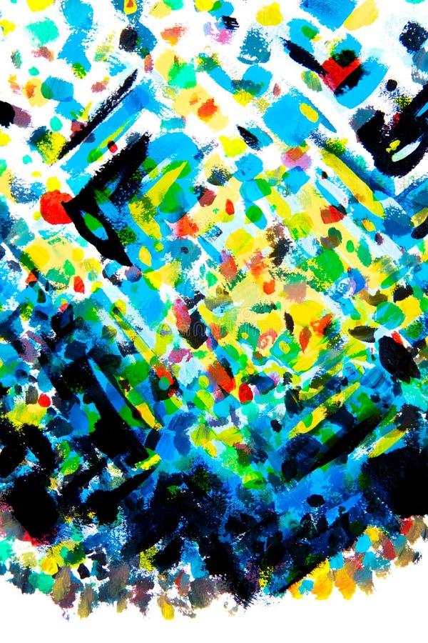 De hand schilderde kleurrijke die penseelstreken door pointillismestyl worden geïnspireerd vector illustratie