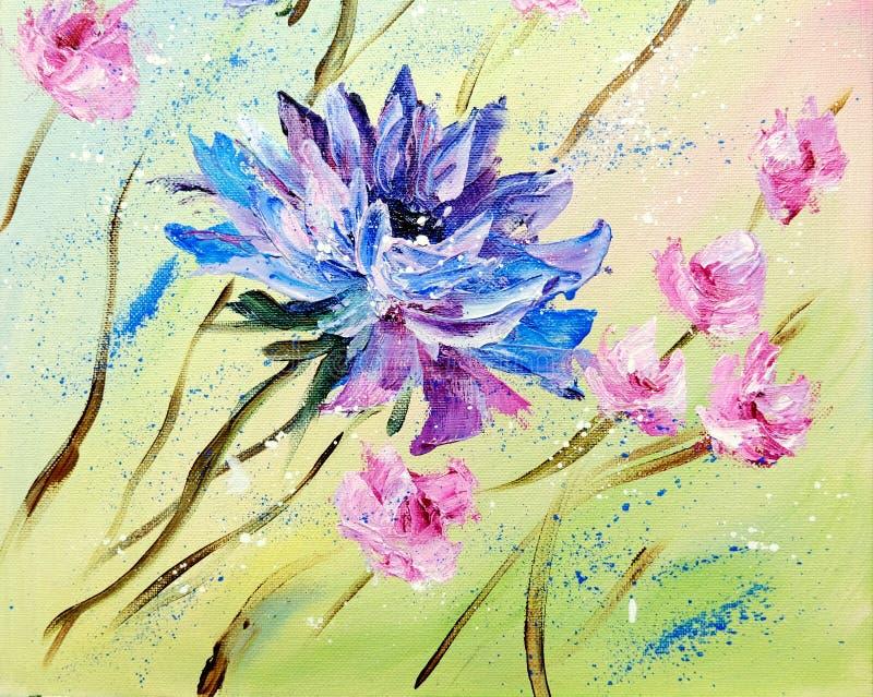 De hand schilderde moderne stijl Blauwe en Roze bloemen stock illustratie