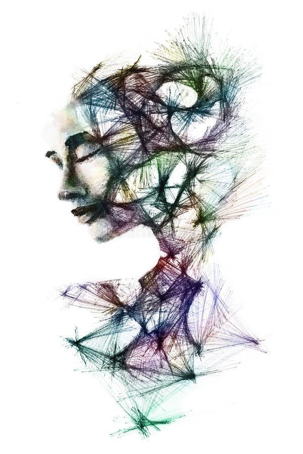 De hand schilderde portret van een vrouw en de lagen van haar meningsdepi stock illustratie