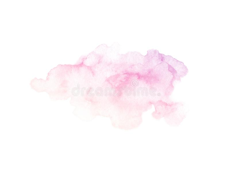 De hand schilderde purpere en roze die waterverftextuur op de witte achtergrond wordt geïsoleerd royalty-vrije stock foto's