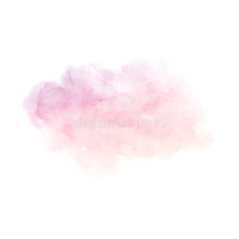 De hand schilderde de purpere en roze vectordietextuur van de gradiëntwaterverf op de witte achtergrond wordt geïsoleerd vector illustratie