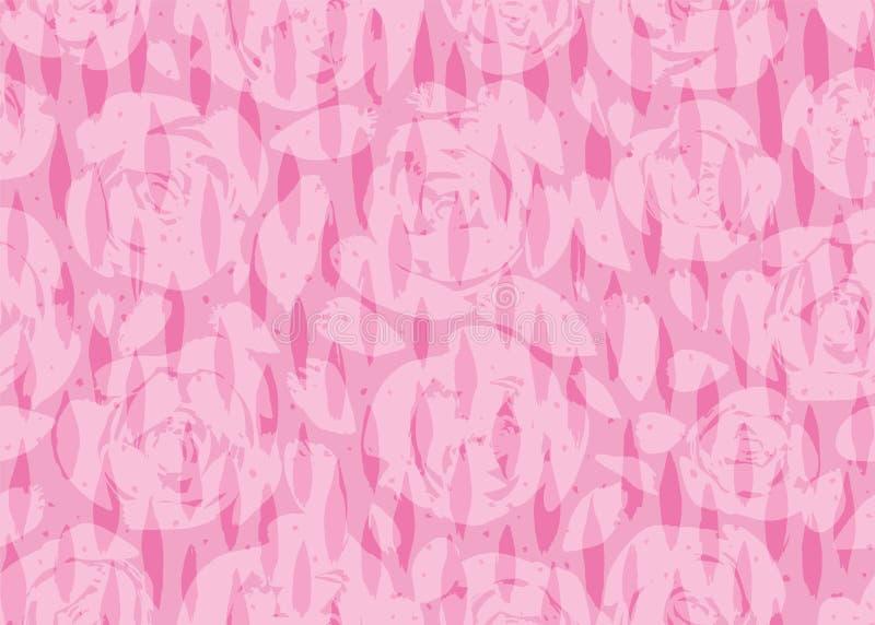 De hand schilderde roze toenam silhouettenachtergrond met verticale hand geschilderde ovale kwaststreektextuur en puntenbekleding stock illustratie