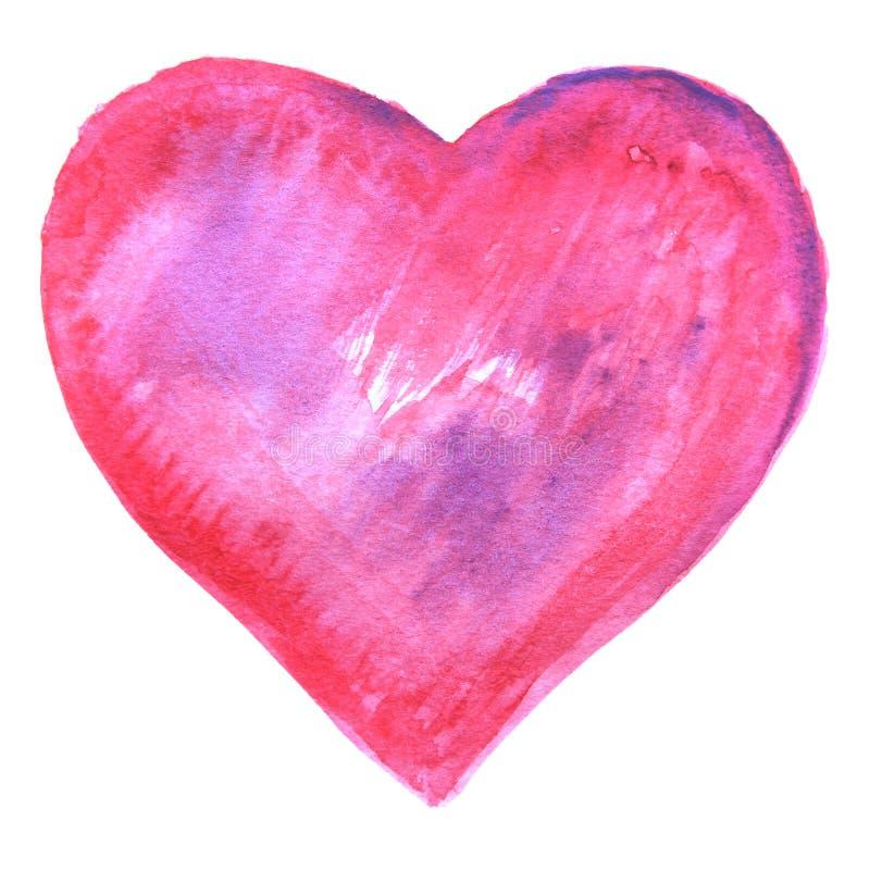 De hand schilderde Roze Waterverfhart stock illustratie