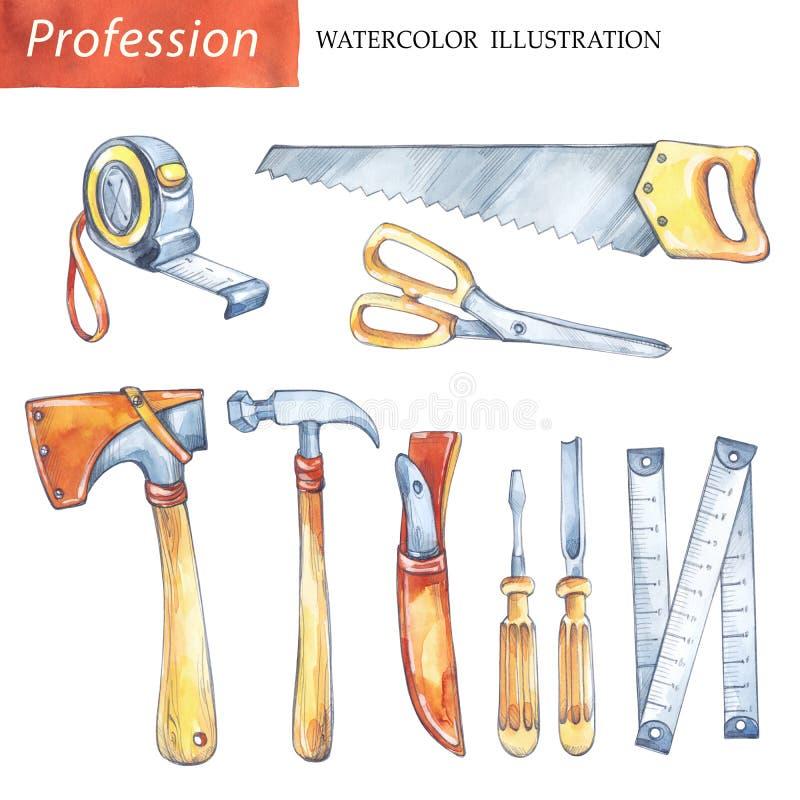 De hand schilderde vastgestelde timmerwerkhulpmiddelen Beroep, hobbyillustratie Waterverfzaag, roulette, mes, hamer, schroevedraa royalty-vrije illustratie