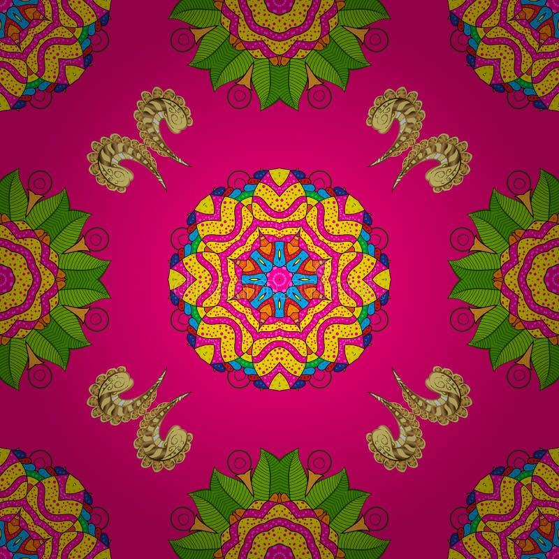 De hand schilderde vectordiemandala, op magenta, gele en groene kleuren, Indische pauw, Indisch patroon, gekleurde mandala, manda royalty-vrije illustratie
