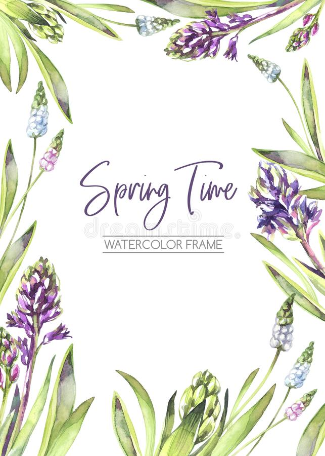 De hand schilderde verticaal kader met Hyacintenbloemen en bladeren De illustratie van de de lentewaterverf in violette schaduwen stock illustratie