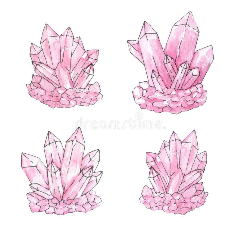 De hand schilderde waterverf en inktreeks roze die kristalclusters op de witte achtergrond worden geïsoleerd Kwartsmineralen vector illustratie