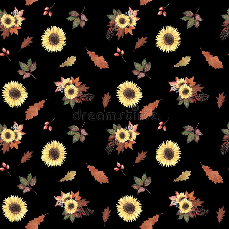De hand schilderde waterverf naadloos patroon met zonnebloemen, de herfstbladeren en bessen op zwarte achtergrond vector illustratie