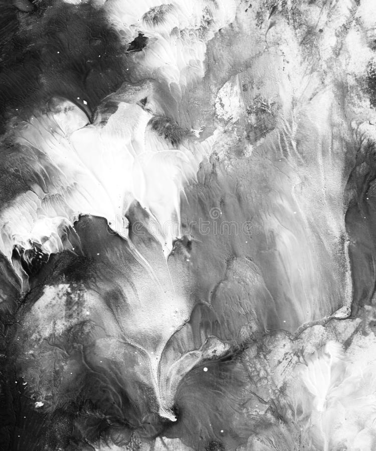 De hand schilderde zwart-witte abstracte achtergrond stock illustratie