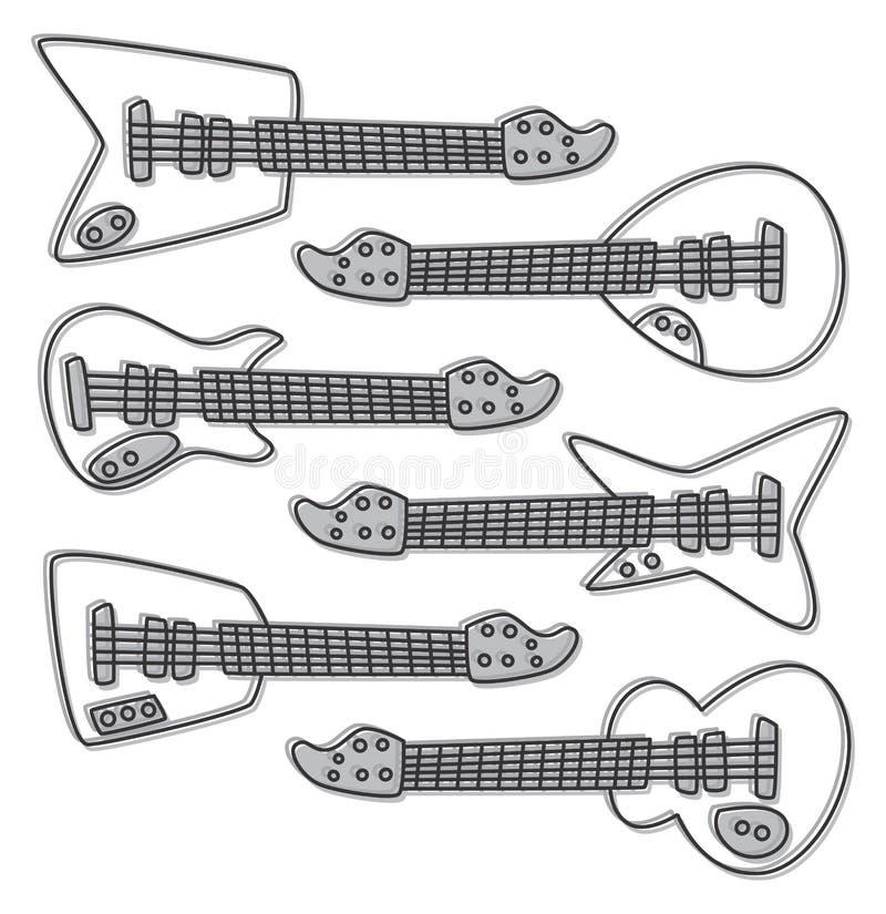 De hand trekt al gitaarreeks vector illustratie