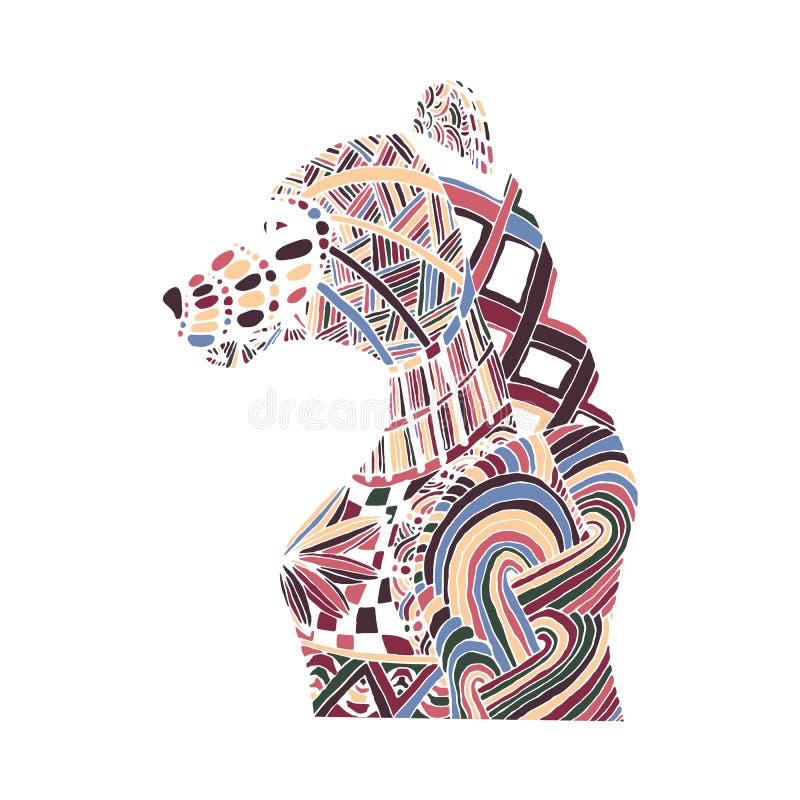 De hand trekt beerpatronen in de stijl van zentangle royalty-vrije illustratie