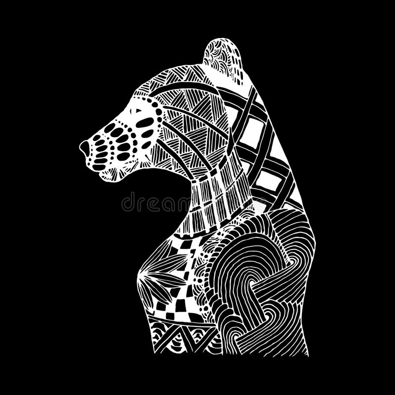 De hand trekt beerpatronen in de stijl van zentangle stock illustratie