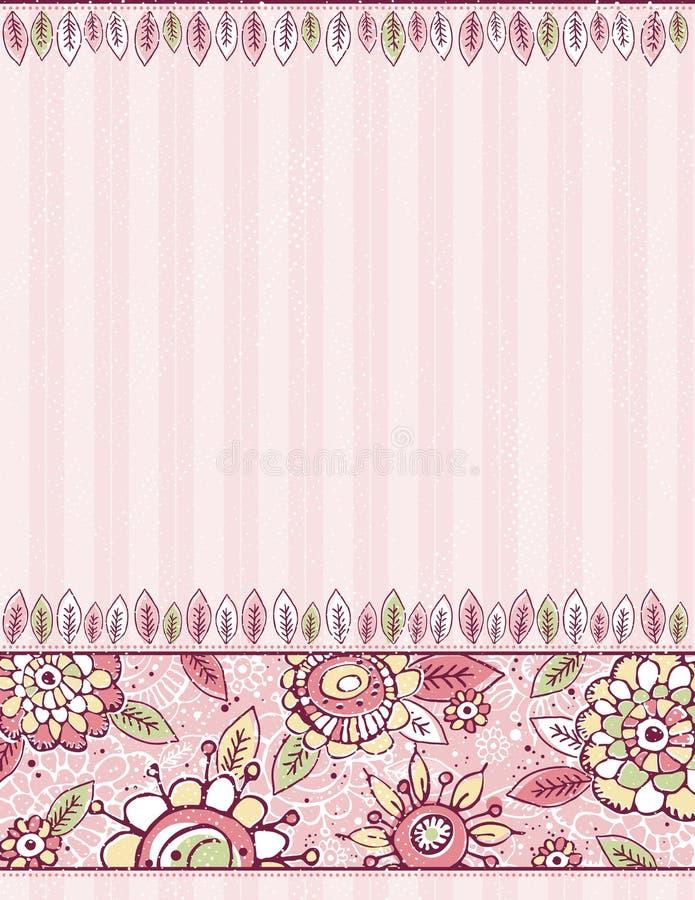 De hand trekt bloemen op gestreepte roze achtergrond royalty-vrije illustratie