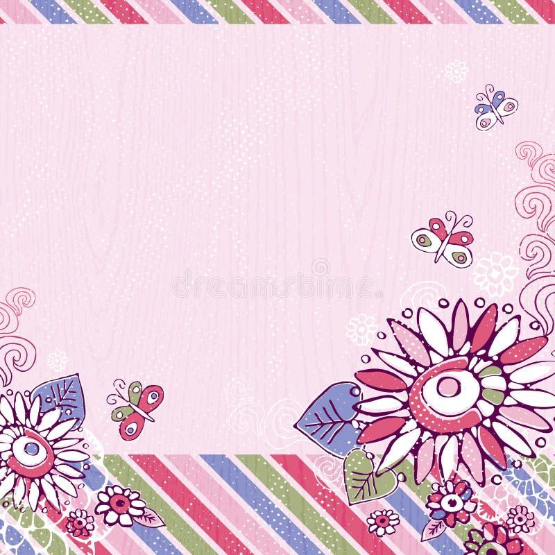De hand trekt bloemen op roze achtergrond stock illustratie