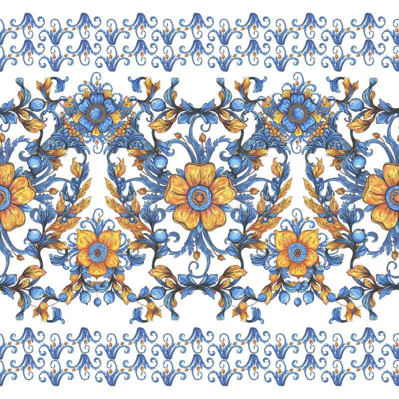 De hand trekt bloemen de textuurpatroon van de ornamentwaterverf met bloemen Geschikt voor druk op stof, huwelijksdecor, dekking  stock illustratie